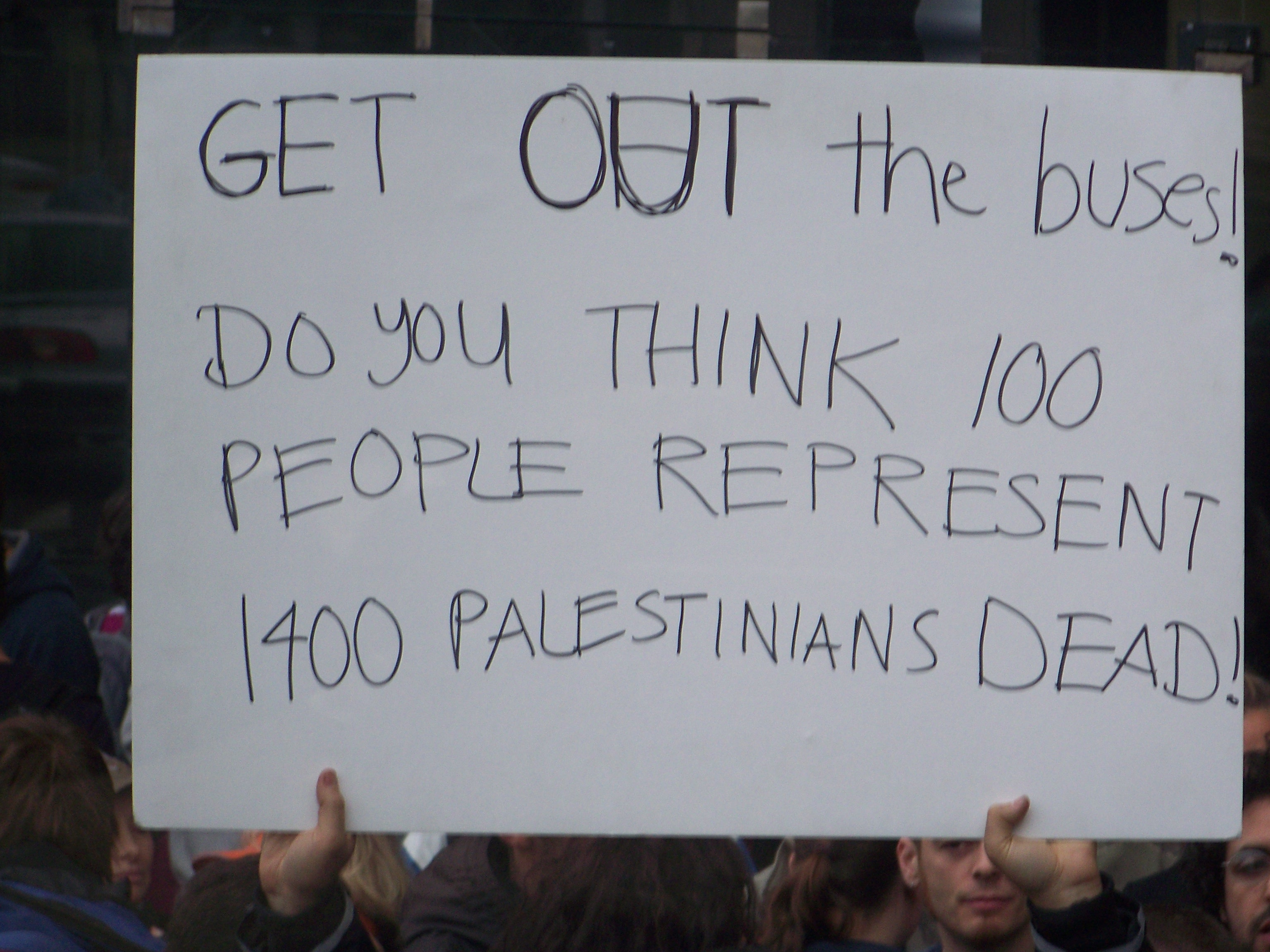 Sign objecting to limitaions on those going to Gaza 12-30-09